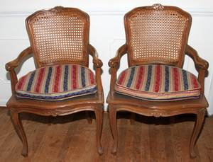 031199 FRENCH LOUIS XV STYLE WALNUT  CANE ARM CHAIRS