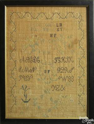 New Jersey silk on linen needlework sampler