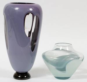 CONTEMPORARY STUDIO GLASS VASES 1981 TWO