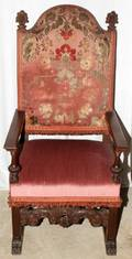 041220 ELIZABETHAN STYLE HIGH BACK CHAIRS PAIR 54