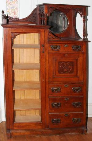 041210 AMERICAN OAK SECRETARYBOOKCASE LATE 19TH C68