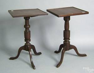 Two similar country cherry candlestands