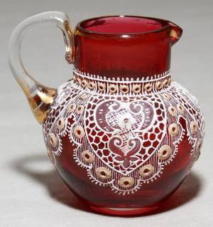 051200 MOSER RUBY LACE MINIATURE PITCHER H 2 13