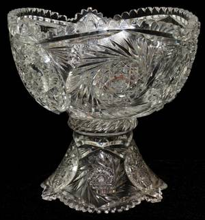051195 CUT GLASS PUNCH BOWL ON STAND C 1900