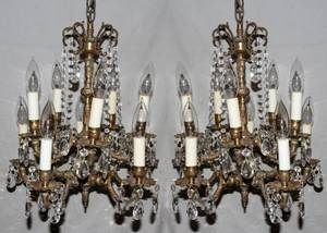 050114 FRENCH STYLE GILT METAL  CRYSTAL CHANDELIERS