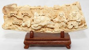 031261 CHINESE CARVED IVORY PANEL H 3 L 10