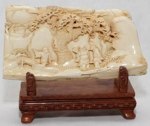 031256 CHINESE CARVED IVORY PLAQUE H 3 L 6 12