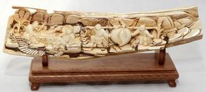 031254 CHINESE CARVED IVORY PANEL H 3 L 12