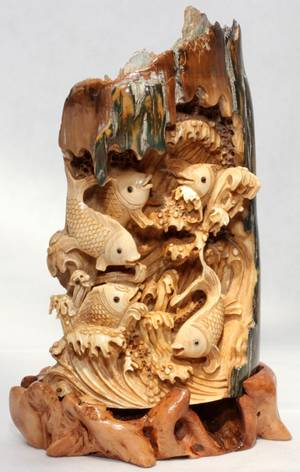 031253 CHINESE IVORY CARVING OF KOI FISH H 6