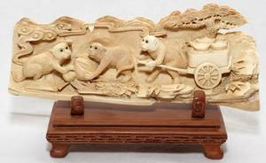 031263 CHINESE IVORY CARVING OF MONKEYS H 3 14