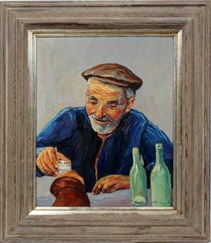 030161 OIL ON CANVAS 20 X 16 MAN DRINKING