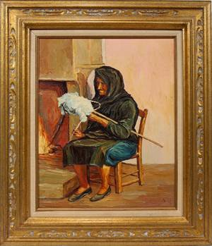 030155 OIL ON CANVAS 20 X 16 WOMAN SEATED