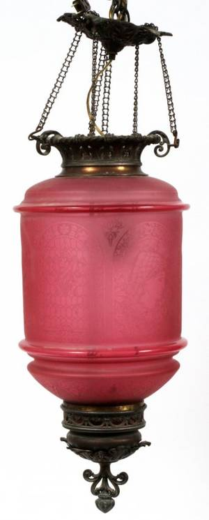 VICTORIAN CRANBERRY GLASS HANGING LAMP