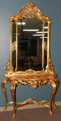 042172 GOLD LEAF WOOD  MARBLE TOP CONSOLE WITH MIRROR