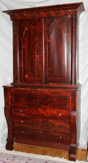 032185 AMERICAN EMPIRE MAHOGANY SECRETARY DESK H 92