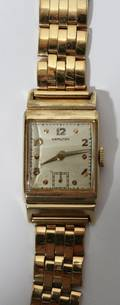HAMILTON MANS 14KT GOLD WATCH AND BAND 1947