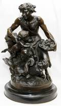 AFTER CLODION BRONZE SCULPTURE MALE SATYR GROUP