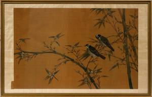 CHINESE WATERCOLOR ON SILK TWO BIRDS