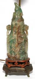 CHINESE CARVED QUARTZ VESSEL AS LAMP OVERALL