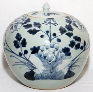 CHINESE BLUE  WHITE PORCELAIN JAR C 1900