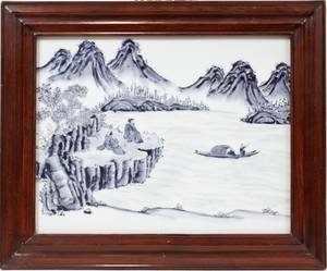 061300 CHINESE BLUE  WHITE PORCELAIN PLAQUE 11 X 14