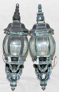 060227 LANTERN STYLE PATINATED METAL WALL SCONCES