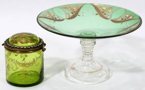 051300 VICTORIAN GLASS DRESSER BOX  CRYSTAL  COMPOTE