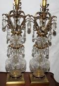 041323 ETCHED GLASS  GILT LAMPS HUNG WCRYSTAL PRISMS