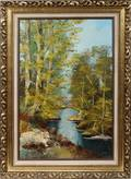 040166 SCOTT OIL ON CANVAS WOODED LANDSCAPE WSTREAM