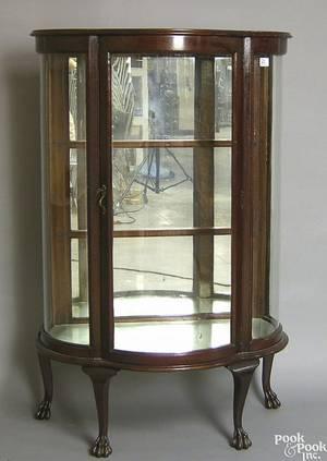 Depression era oak china cabinet