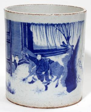 032230 CHINESE BLUE WHITE PORCELAIN BRUSH POT