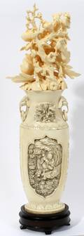 030228 CHINESE CARVED IVORY VASE WITH FLOWERS H 12