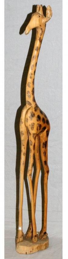 AFRICAN CARVED WOOD GIRAFFE FIGURE