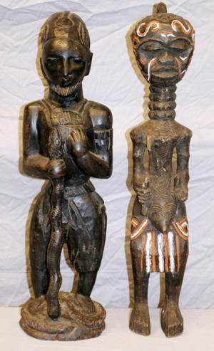 AFRICAN TRIBAL CARVED WOOD FIGURES 2 PCS