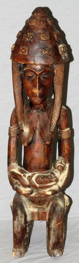 AFRICAN TRIBAL CARVED FEMALE FIGURE