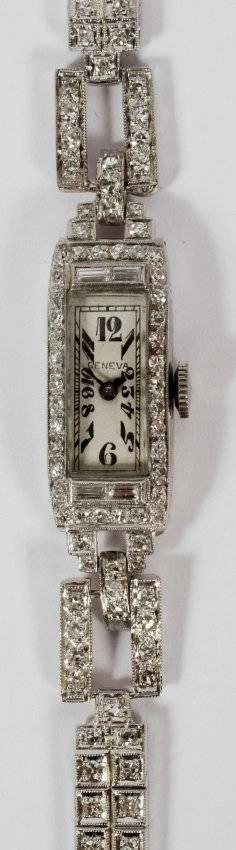LADIES GENEVA PLATINUM  2CT DIAMOND WATCH
