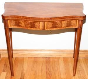 060284 MAHOGANY CONSOLE TABLE H 29 W 33 D 18