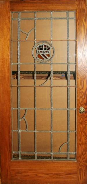 051328 OAK  LEADED GLASS DOOR C 1925 78 X 35