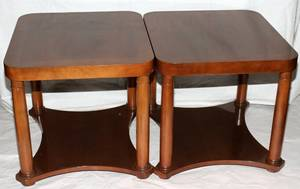 051321 BAKER FURNITURE COEMPIRE STYLE MAHOGANY TABLES