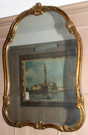 041371 FRENCH STYLE CARVED  GILT WOOD MIRROR