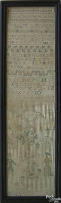English silk on linen band sampler dated 1774
