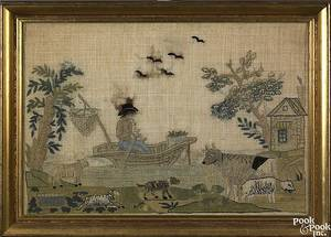 English silk on linen pictorial needlework 18th c
