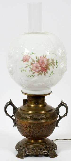 VICTORIAN BRASS  MILK GLASS OIL LAMP LATE 19TH C