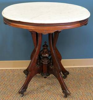EASTLAKE MARBLE TOP OCCASIONAL TABLE LATE 19TH C