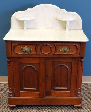 VICTORIAN WASH STAND W MARBLE TOP C 1870