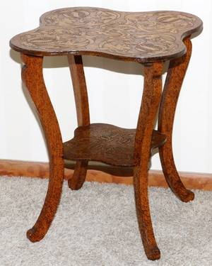 ART NOUVEAU PYROGRAPHY TABLE C 1900