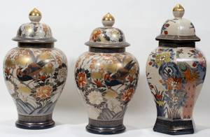 051353 JAPANESE CRACKLE GLAZE COVERED URNS THREE