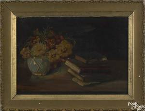 After George Cochran Lambdin oil on canvas still life signed lower left GC Lambdin 14 x 20 Gifted in 1966
