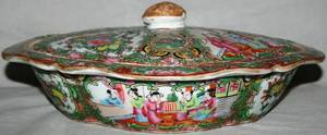 041420 CHINESEROSE MEDALLION PORCELAIN COVERED DISH