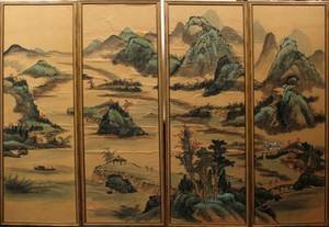 CHINESE HANDPAINTED SILK PANELS FOUR